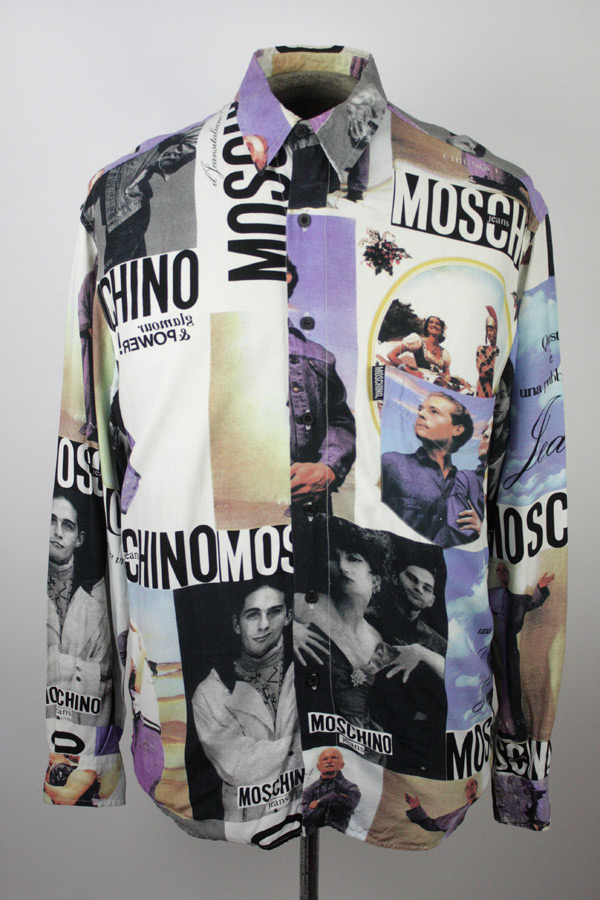 MOSCHINO-JEANS-Vintage-Early-90s-Mens-Photo-Collage-Print-Button-Down-Shirt